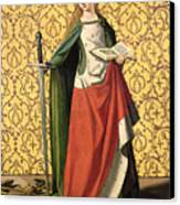 St. Catherine Of Alexandria Canvas Print by Josse Lieferinxe