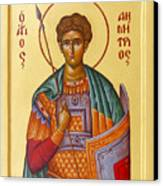 St Demetrios The Great Martyr And Myrrhstreamer Canvas Print by Julia Bridget Hayes
