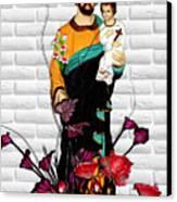 St Joseph Holding Baby Jesus - Catholic Church Qibao China Canvas Print by Christine Till