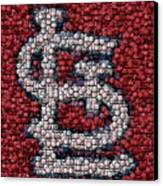 St. Louis Cardinals Bottle Cap Mosaic Canvas Print by Paul Van Scott
