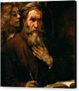 St Matthew And The Angel Canvas Print by Rembrandt Harmensz van Rijn