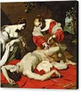 St Sebastian Tended By The Holy Irene Canvas Print by Nicholas Renieri