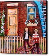 St. Urbain Street Boys Canvas Print