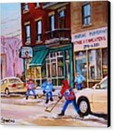 St. Viateur Bagel With Boys Playing Hockey Canvas Print
