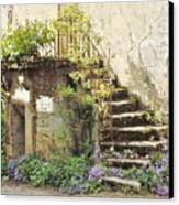 Stairway With Flowers Flavigny France Canvas Print