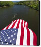Stars And Stripes Flies Over The Delaware River Canvas Print