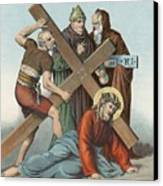 Station Ix Jesus Falls Under The Cross The Third Time Canvas Print by English School