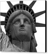 Statue Of Liberty B/w Canvas Print by Lorena Mahoney