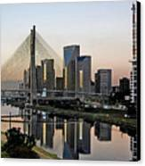 Stayed Bridge And Modern Sao Paulo Skyline Canvas Print by Carlos Alkmin
