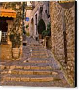 Steep Street In St Paul De Vence Canvas Print by Louise Heusinkveld