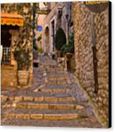 Steep Street In St Paul De Vence Canvas Print by Louise Heusinkveld