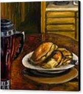 Still Life Pancakes And Coffee Painting Canvas Print