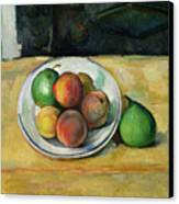 Still Life With A Peach And Two Green Pears Canvas Print