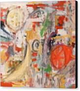 Still Life With Banana And Orange Canvas Print