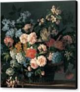 Still Life With Basket Of Flowers Canvas Print