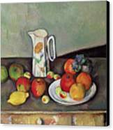 Still Life With Milkjug And Fruit Canvas Print by Paul Cezanne
