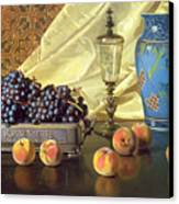 Still Life With Peaches Canvas Print by Edward Chalmers Leavitt