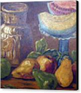 Still Life With Pears And Melons Canvas Print