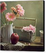 Still Life With Pink Gerberas And Red Apple Canvas Print by Copyright Anna Nemoy(Xaomena)