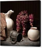 Still Life With Pitcher And Grapes Canvas Print by Tom Mc Nemar