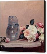 Still Life With Roses Canvas Print by Ignace Henri Jean Fantin-Latour