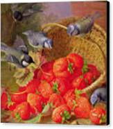 Still Life With Strawberries And Bluetits Canvas Print