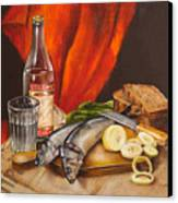 Still Life With Vodka And Herring Canvas Print by Roxana Paul