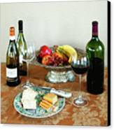 Still Life With Wine And Fruit Cheese Picture Interior Design Decor Canvas Print by John Samsen