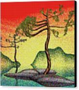 Stippling Geometric Pine 4 Canvas Print by GuoJun Pan