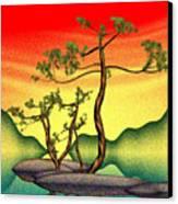 Stippling Geometric Pine Canvas Print by GuoJun Pan