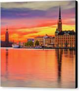 Stockholm Fiery Sunset Reflection Canvas Print