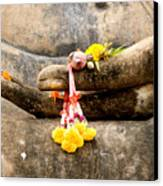 Stone Hand Of Buddha Canvas Print by Adrian Evans