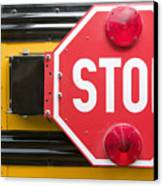 Stop Sign On School Bus Canvas Print