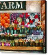 Store - Westfield Nj - The Flower Stand Canvas Print by Mike Savad