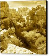 Strange Rock Formations At El Torcal Near Antequera Spain Canvas Print
