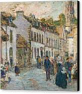 Street In Pont Aven Canvas Print by Childe Hassam
