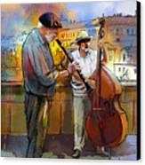 Street Musicians In Prague In The Czech Republic 01 Canvas Print