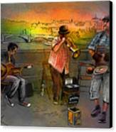 Street Musicians In Prague In The Czech Republic 03 Canvas Print