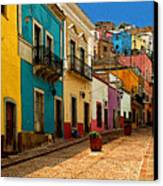 Street Of Color Guanajuato 4 Canvas Print by Mexicolors Art Photography