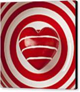 Striped Heart In Bowl Canvas Print by Garry Gay