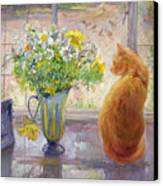 Striped Jug With Spring Flowers Canvas Print