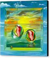 Strollin Miami Beach At Sunset Canvas Print
