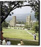Students Sit On A Hill Overlooking Canvas Print