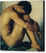 Study Of A Nude Young Man Canvas Print by Hippolyte Flandrin