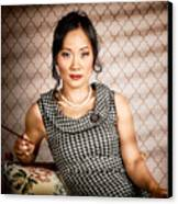 Stylish Vintage Asian Pin-up Lady With Cigarette Canvas Print by Jorgo Photography - Wall Art Gallery