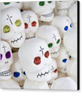 Sugar Skulls For Sale At The Day Canvas Print by Krista Rossow