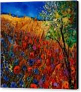 Summer Landscape With Poppies  Canvas Print