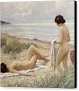 Summer On The Beach Canvas Print by Paul Fischer