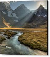 Sun Setting  Behind Jirishanca Peak Canvas Print by Colin Monteath