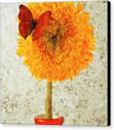 Sunflower And Red Butterfly Canvas Print by Garry Gay